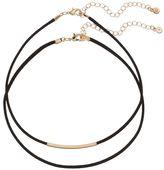Lauren Conrad Curved Bar Faux Suede Choker Necklace Set