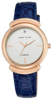 Anne Klein Rose Goldtone Stainless Steel Leather Strap Analog Watch