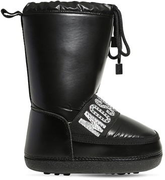 Moschino Embellished Logo Nylon Snow Boots
