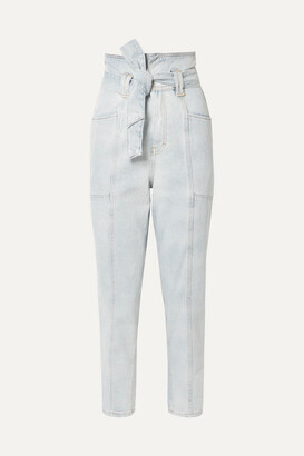 IRO Vieno Belted High-rise Tapered Jeans - Light denim