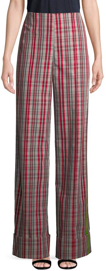 Diane von Furstenberg Women's Wide-Leg Plaid Pants