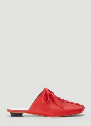 Flat Apartment Squared-Toe Lace Up Mules