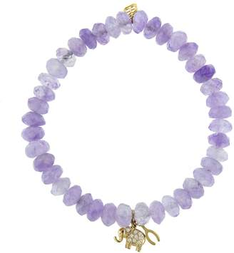 Sydney Evan Lucky Duo Charm On Lavender Amethyst Beaded Bracelet - Yellow Gold