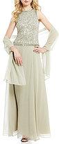 J Kara Two-Piece Sequin Bodice A-Line Chiffon Gown