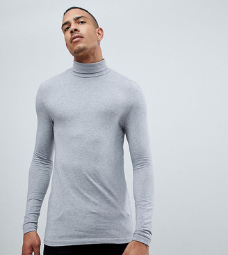 Asos Design DESIGN Tall muscle fit long sleeve jersey roll neck in gray marl
