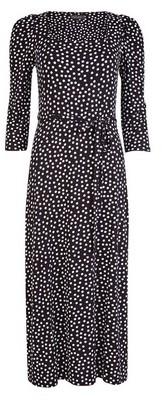 Dorothy Perkins Womens Black Spot Print 3/4 Sleeve Midi Dress, Black