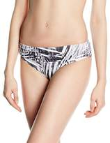 Moontide Women's Cybertron Ruched Front Briefs Striped Bikini Bottoms