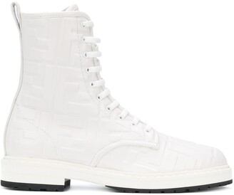 Fendi FF embossed combat boots