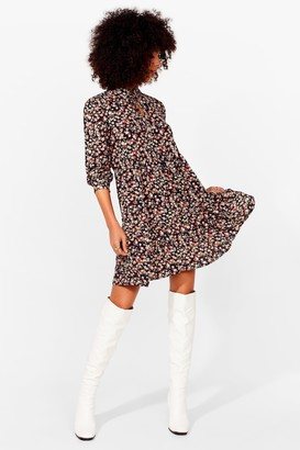 Nasty Gal Womens Never Had It Grow Good Floral Mini Dress - Black - 4, Black