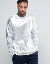 Asos Oversized Long Sleeve T-shirt In Metallic Silver