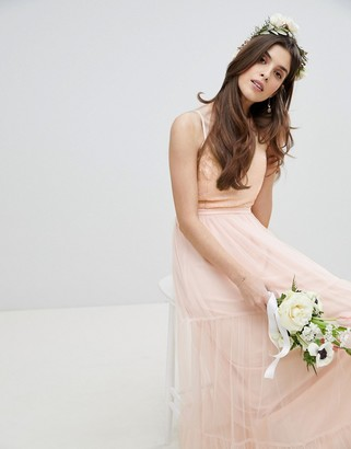 Little Mistress Bridesmaid Sequin Upper Maxi Dress With Tulle Tiered Skirt