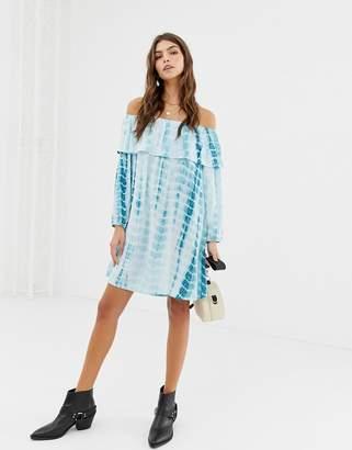 Glamorous off shoulder tie dye print dress-Blue