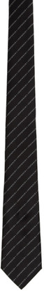 Burberry Black and White Striped Logo Tie