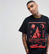 Reclaimed Vintage Inspired Oversized T-Shirt In Black With Medieval Print