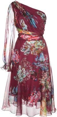 Marchesa floral print one shouldered dress