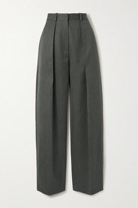 Victoria Beckham - Pinstriped Herringbone Wool Wide-leg Pants - Gray