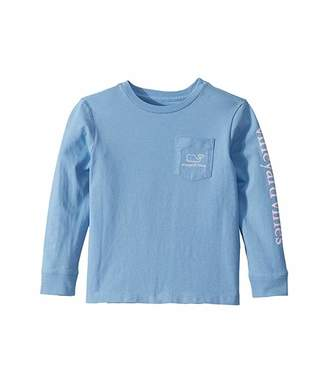 Vineyard Vines Kids Long Sleeve Two-Tone Village Whale Pocket T-Shirt (Toddler/Little Kids/Big Kids)
