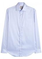 Armani Collezioni Blue Cotton Twill Shirt