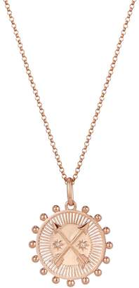One And One Studio Rose Gold Medallion Pendant Necklace With Cross Arrow Symbol On Chain
