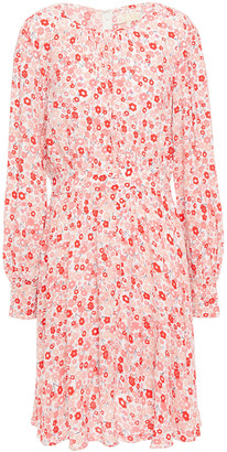 By Ti Mo Gathered Floral-print Crepe De Chine Dress