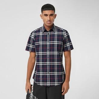 Burberry Short-sleeve Check Cotton Poplin Shirt