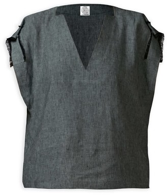 Cleo Prickett Cushla Top with cut-out neckline made from genuine Irish Linen