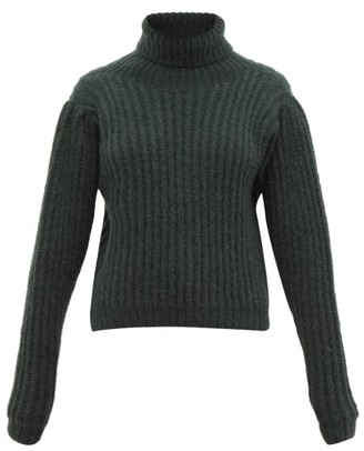 Apiece Apart Nicola Puff-sleeved Alpaca-blend Sweater - Green