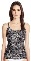 Calvin Klein Women's Black Snake Over-The-Shoulder Tankini Top