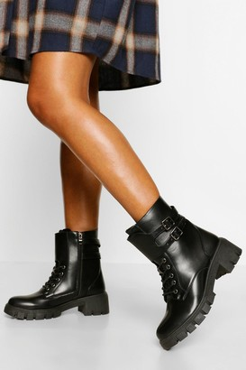 boohoo Cleated Sole Lace Up Hiker Boot