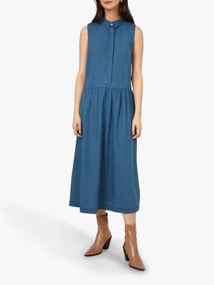 Warehouse Denim Midi Dress, Mid Wash