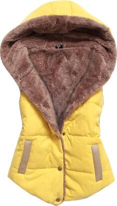 Gaorui Women Sleeveless Fleece Jacket Hooded Gilet Winter Vest Slim Fit Waistcoat Casual Yellow