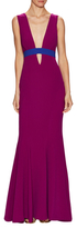 "Nicole Miller ""Viola"" Techy Crepe Low V-Neck Gown"