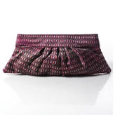 Lauren Merkin Purple Pink Abstract Print Pleated Hinge Closure Clutch Handbag