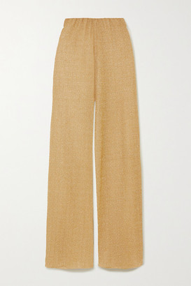 Oseree Stretch-lurex Wide-leg Pants - Gold