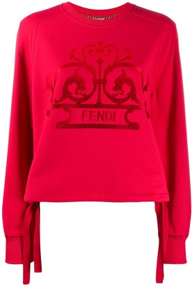 Fendi Logo Embroidered Relaxed Fit Sweatshirt