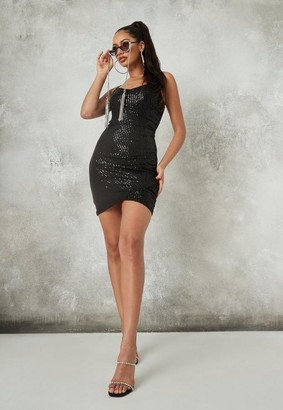 Missguided Black Sequin Ruched Cami Mini Dress