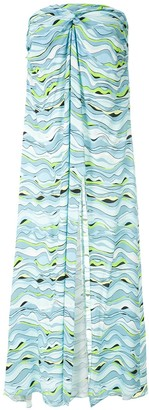 AMIR SLAMA Wave-Print Strapless Dress