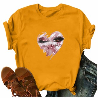 Zerototens Women Tops Zerototens Women's Round Neck Loose Short Sleeve T-Shirt Letter Heart-Shaped Printed Ladies Summer Casual Pullover Tees Tops Pink