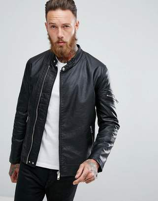 Asos DESIGN faux leather racing biker jacket