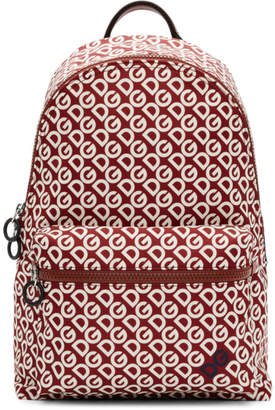 Dolce & Gabbana Burgundy and White Logo Backpack