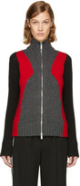 DSQUARED2 Grey & Red Panel Zip Sweater