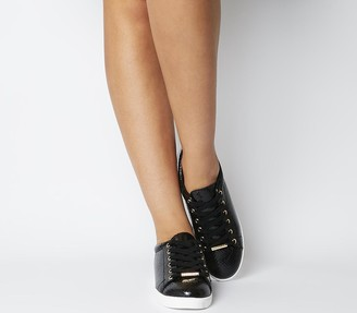 Office Florence Lace Up Trainers Black Snake