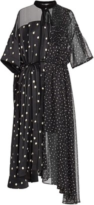 Sacai Mixed Polka Dot Chiffon Dress