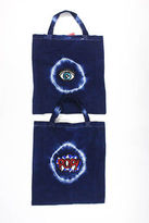 Joelle Gagnard Blue White Tie Dye Sequin Embellished Patches Lot 2 Tote Bags New $90