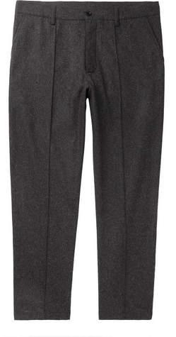 YMC Cropped Melange Flannel Trousers - Men - Charcoal