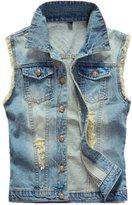 K3K New Mens Fashion Broken Holes Sleeveless Denim Concealed Carry Vest (, Black)
