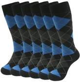 SUTTOS Men's Casual Elite Blue Black Grey Plaids Diamonds Argyle Striped Warm Cotton Knit Mid Calf Crew Dress Dress 7-Pairs
