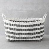 Crate & Barrel Grey-White Stripe Laundry Hamper
