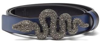 Valentino Crystal-embellished Snake-buckle Leather Belt - Womens - Navy