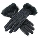 Black Ladies' Cashmere and Leather Gloves with Rabbit Fur Cuff